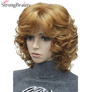 Image 2 - StrongBeauty Medium Length Curly Wigs Synthetic Womens Hair Blonde/Black/ Burgundy Many Colors For Choose
