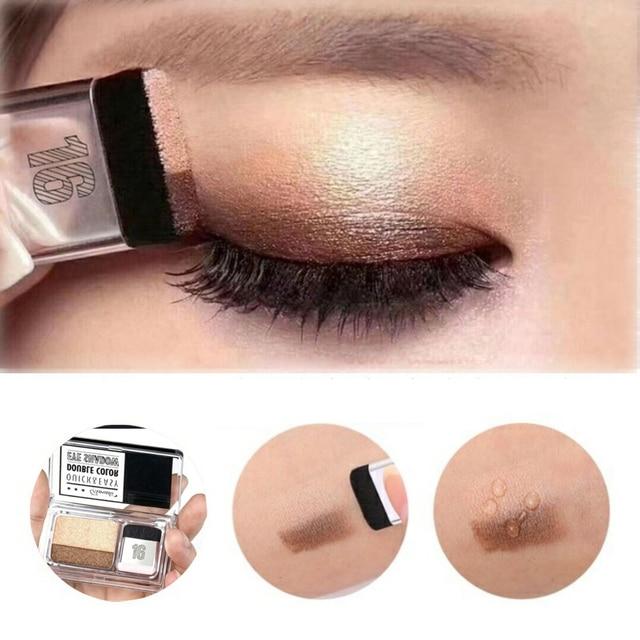 Ojos maquillaje cosméticos revista perezoso sombra de ojos sello sombra de ojos doble Color brillo paleta impermeable larga duración Natural desnudo