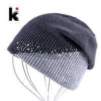 Inverno de malha chapéu feminino strass cor costura gorros caps senhoras ao ar livre céus bonnet chapéu meninas skullies touca inverno