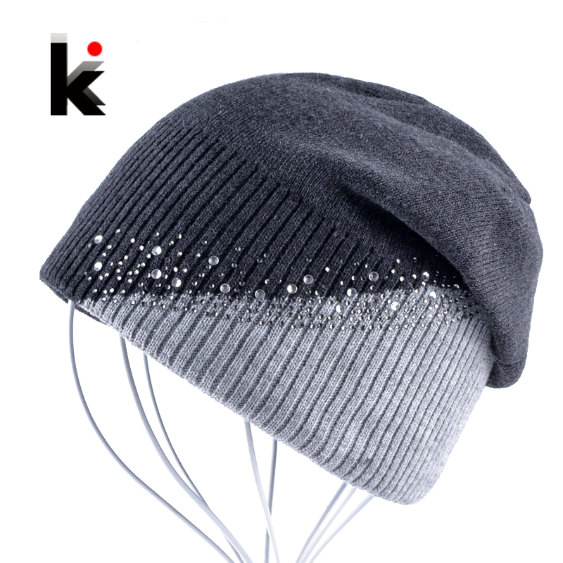 Winter Knitted Hat Women Rhinestones Color Stitching   Beanies   Caps Ladies Outdoors Skies Bonnet Hat Girls   Skullies   Touca Inverno