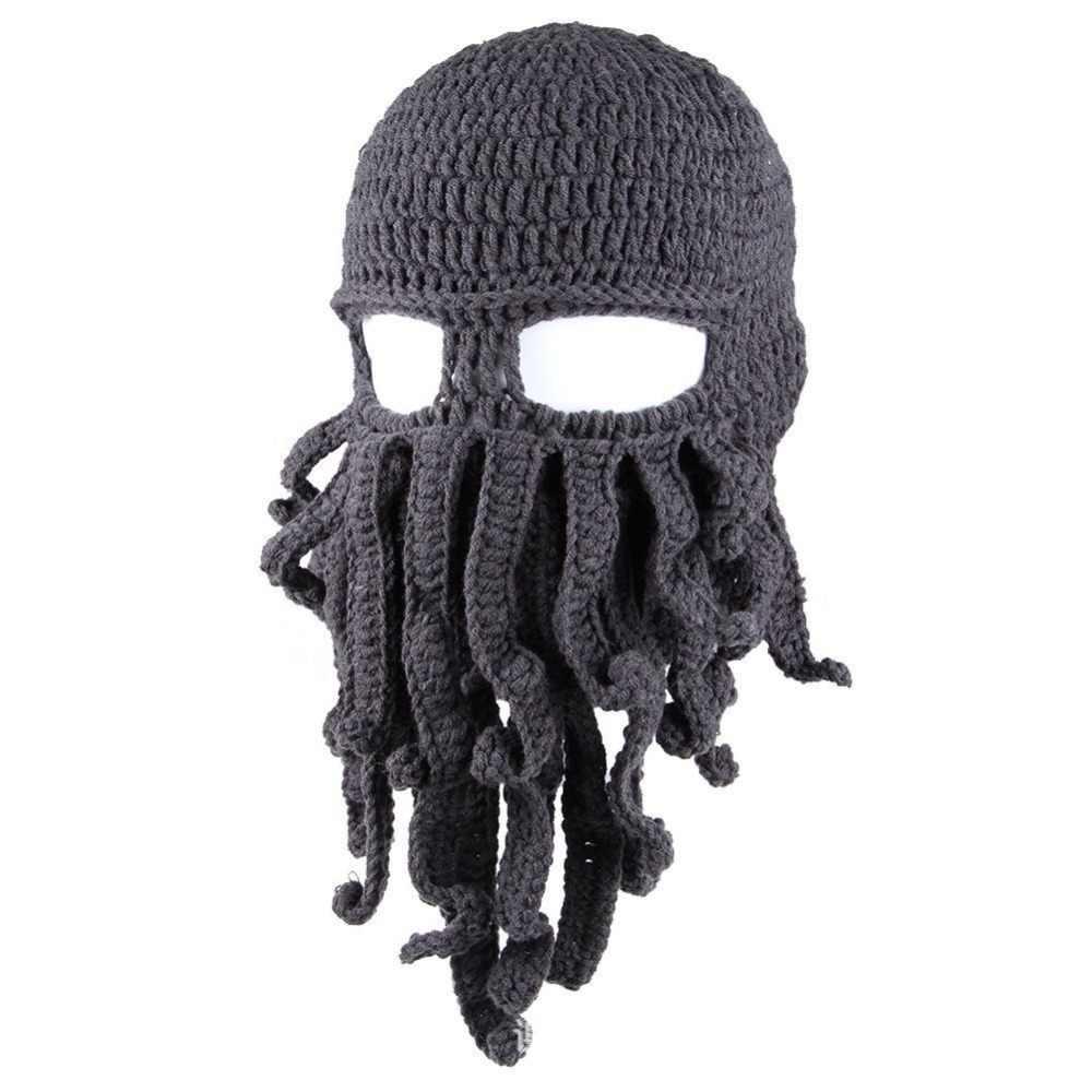 3e1deadf601 ... Funny Ski Mask Hats Cap Knit Winter Warm Beard Octopus Hats Crochet  Wool Beanies Balaclavas for ...
