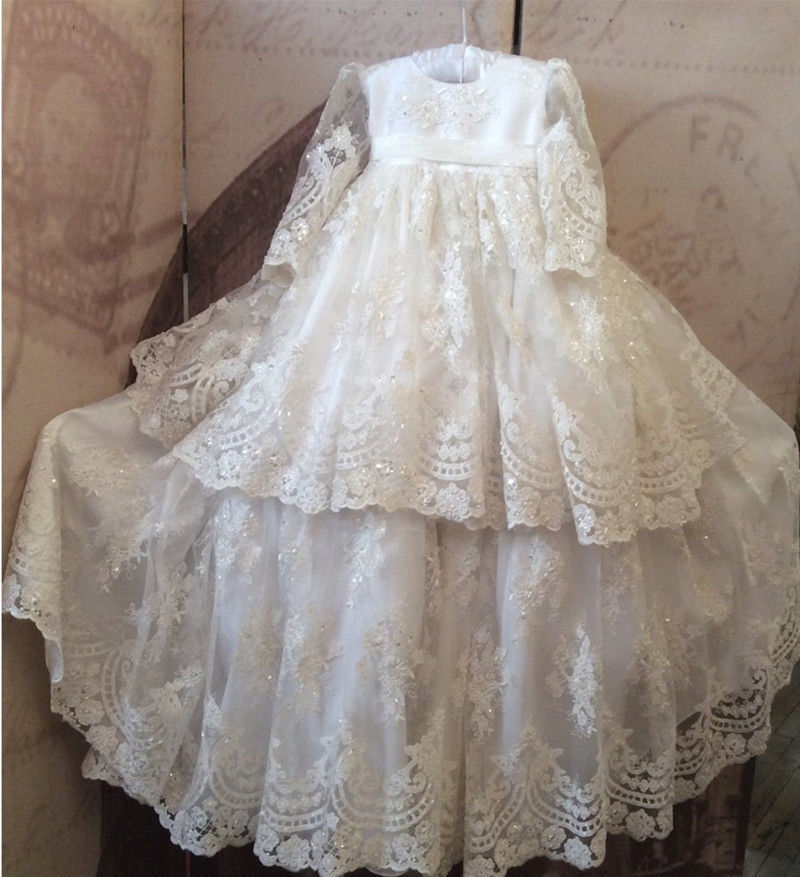 Vintage White Baby Girls Christening Gown Lace Beads Baptism Dress With Bonnet 2017 Custom High Quality