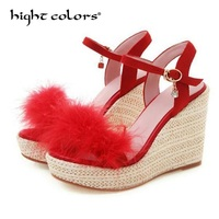 2019 Personality Sexy Women's Sandals Bohemian High Heel Fur Shoes For Women Wedge Buckle Slope Sandals Summer Casual Footwear