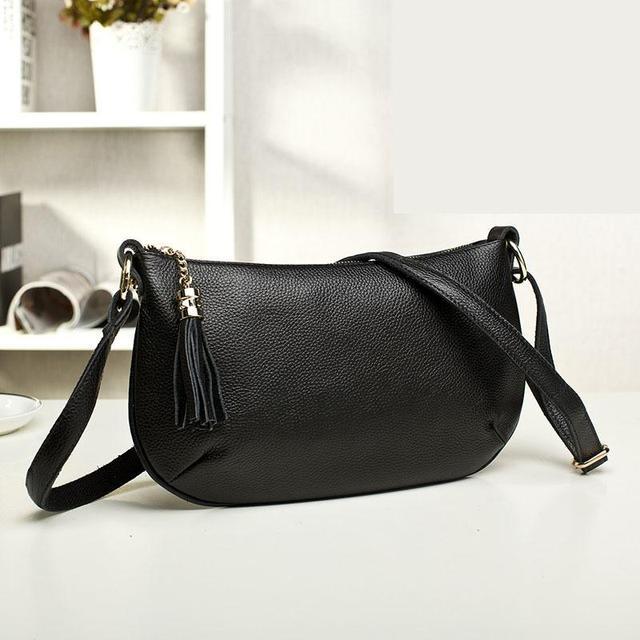 Saco de borla couro genuíno das mulheres pequeno saco de borla ombro das mulheres de couro da marca senhora bolsa feminina crossbody sacos