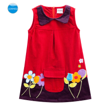 JUXINSU Cotton Summer New Style Girl Sleeveless Dresses Flower Embroidered Pocket Back Zip for Girls Dress 1-6 Years