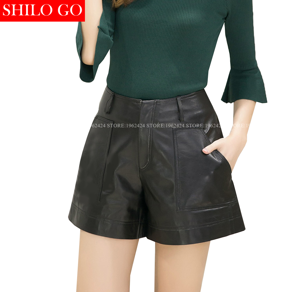 SHILO GO New Fashion Street Women's Empire Pocket A-Line Sheepskin Genuine Leather Shorts Ladies Concise Shorts Good Quality