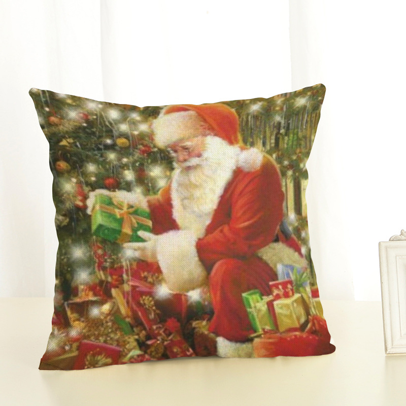New Year Christmas Decorations For Home Christmas Pillow cover Santa Claus and Dog Cotton Linen Pillowcase Office Home Cushion (6)