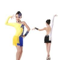 무료 배송 새로운 어린이 여자 아이 패션 섹시한 경쟁 볼룸 탱고 삼바 살사 라틴어 프린