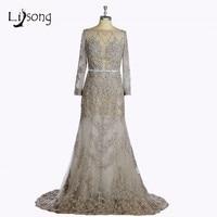 Silver Beaded Mermaid Evening Dress Full Sleeves See Through Lace Evening Formal Dress vestido de noiva Women Modern Maxi Gowns