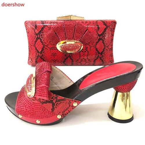 295a509072 Les vert Chaussure Italien 2018 Assortis rouge Doershow or Africains  Ensemble 6 Noir argent Chaussures Avec Argent Africain Et Sacs ...