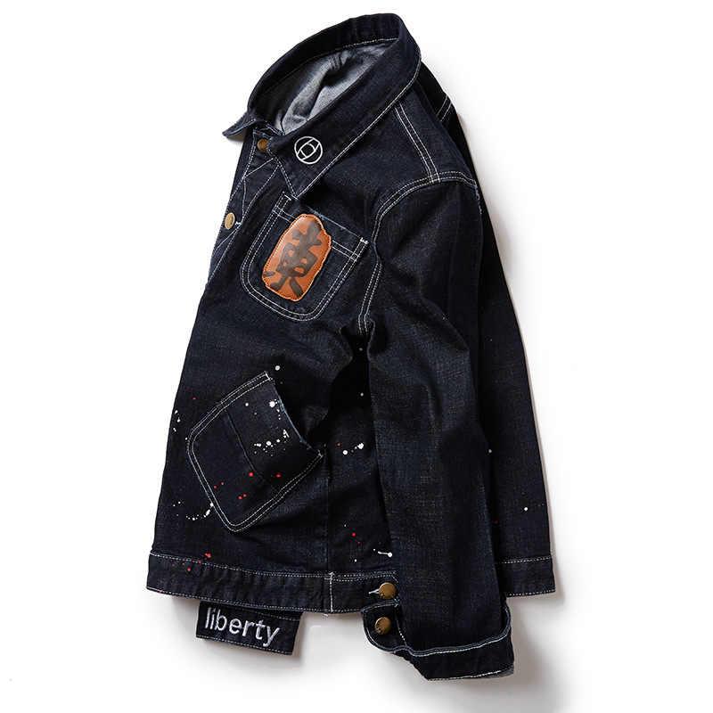 大きなポケット黒メンズデニムジャンジャケット新 2018 春秋プラスサイズ M-6XL 7XL 8XL