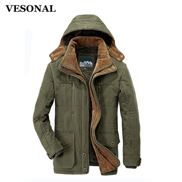 VESONAL Winter Thick Padded Parka Men Jacket Coat Russian Wadded ...