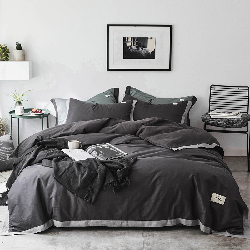 Brown grey Bedding Set Yarn dyed fabric Duvet Cover Flat Sheet Pillowcase Quilt Cover Bed Set Full Queen King size