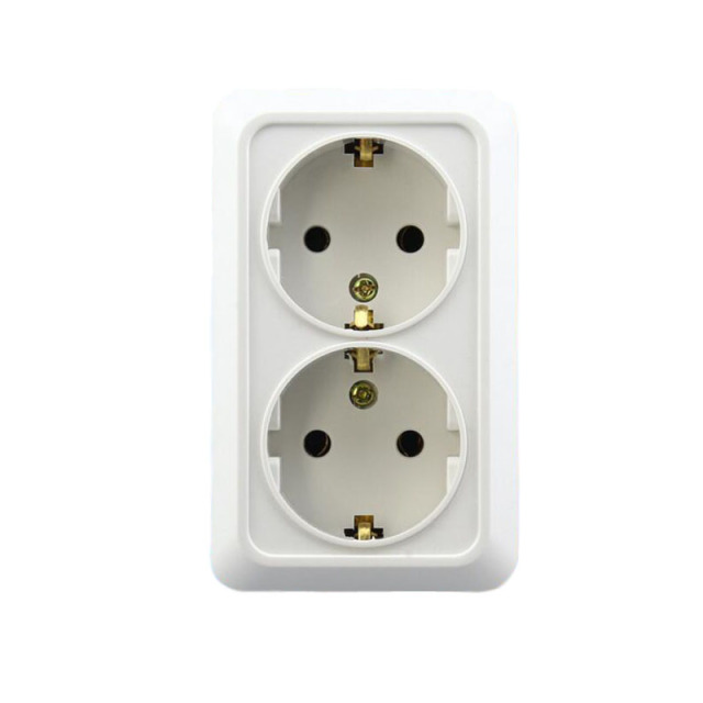 16A 2 Way EU Plug Wall Sockets Home Wall Panel Power Socket  Surface Mounted Switch outlet For Hotel Home Office Use AC 110-250V