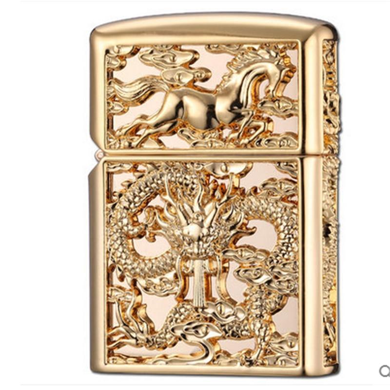 Image 5 - 2018 Luxury 3D Lighter Men Gadgets Kerosene Oil Petrol Lighter Dragon Horse Gasoline Cigarette Accessories Retro Hollow Lighter-in Cigarette Accessories from Home & Garden