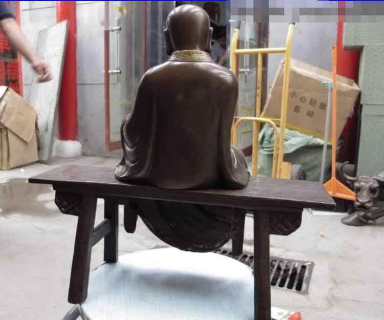 Чистая бронза Медь Буддизм сидеть стула буддийский монах Будды Книги по искусству статуя