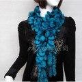 Синий желтый красный меховой шарф Женщин осень зима 160*8 см цветок природный рекс кролика трикотажные ручной обертывания F734