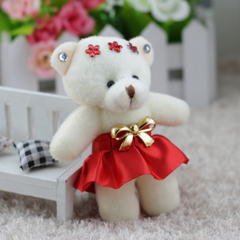 Cartoon lovely plush conjointed teddy bear girls toys doll bouquets flower bear mini promotional gift bear for christmas gift free shipping 1pc retail russian bear mini figures pvc toys bear animal toys cake car party office home decoration kids gift
