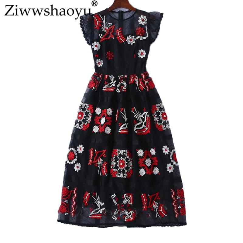 Ziwwshaoyu Fashion Mesh Embroidery dresses Bohemian Diamonds Butterfly Sleeve elegant O-Neck dress 2019 summer new women