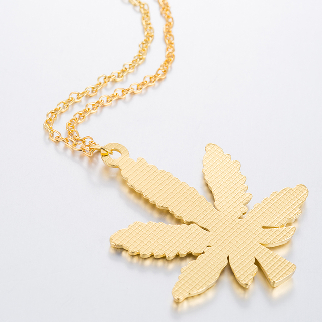 Hfarich Maple Leaf necklaces & pendants Gold Silver Color boho Cannabiss Weed Herb Charm Necklace Hip Hop Tropical Leaf Jewelry  5