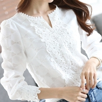 2018 New Autumn Spring Casual Basic Women Lace Chiffon Blouse Shirts Solid Tops White Blusas Long