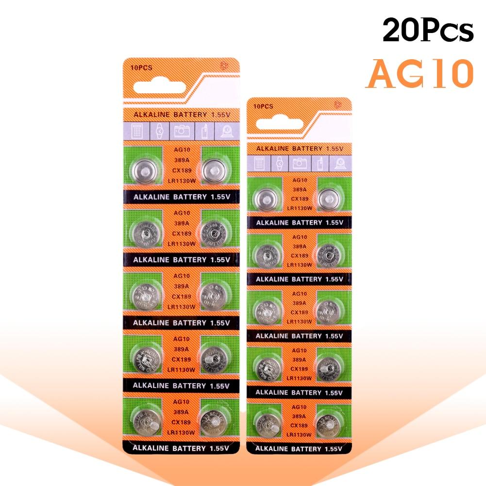 YCDC 20pcs AG10 LR1130 1130 SR1130 389A LR54 L1131 389A 1.55V Button Battery MP3 Players,Toys Watch Batteries Alkaline Batteria