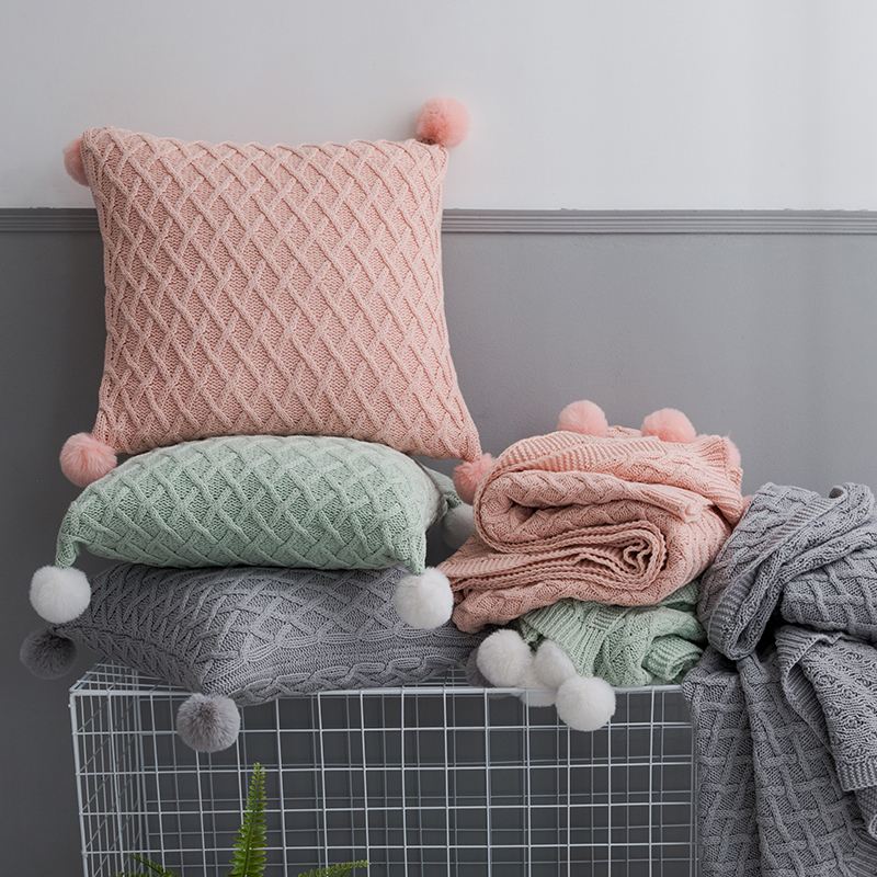 Knit Cushion Cover Vintage Pink Grey Light Green Solid Pillow Case  45cm*45cm Soft With Pom Pom Ball Nursery Room Decoration