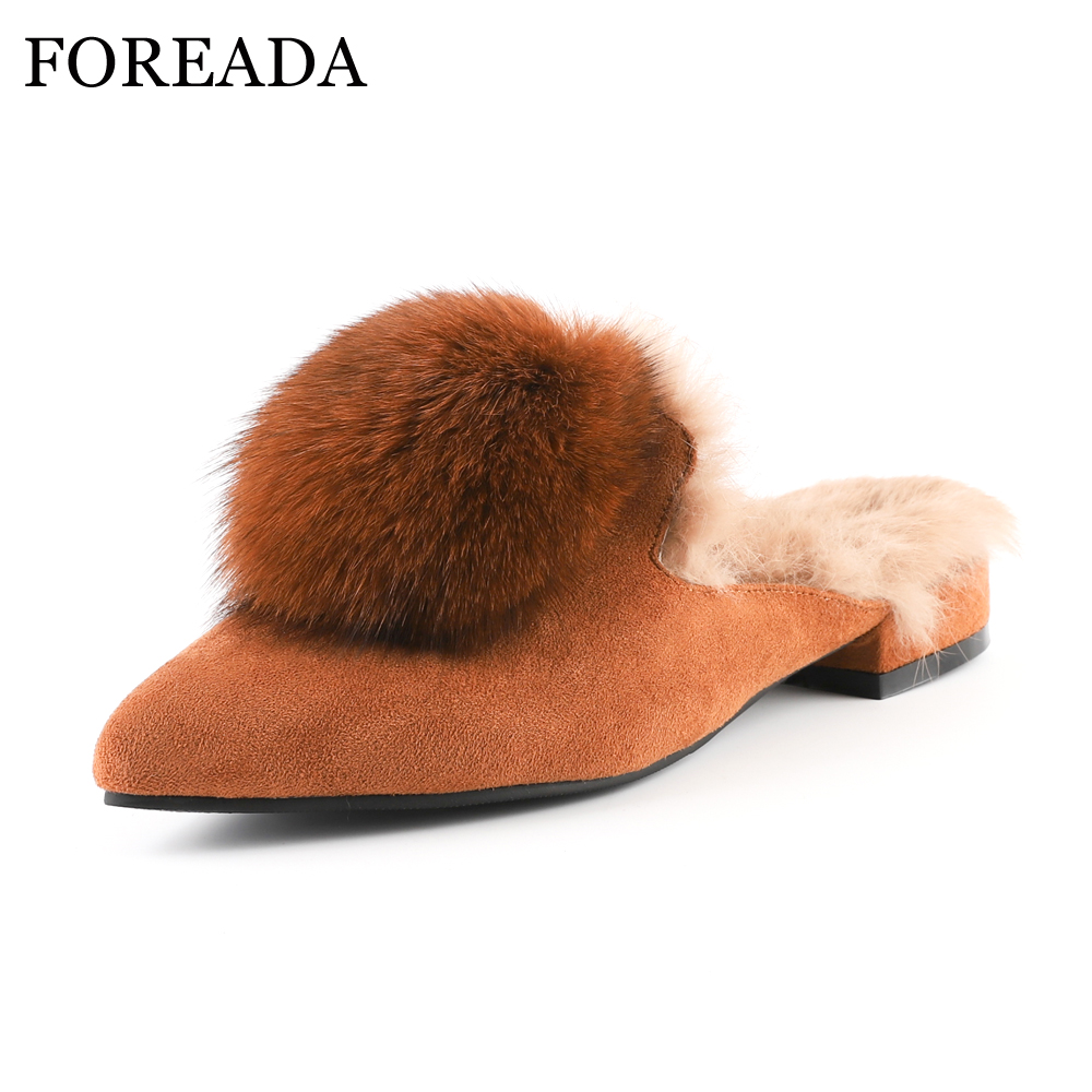 FOREADA Women Mules Shoes Genuine Leather Flats Real Rabbit Fur Slippers Pointed Toe Winter Suede Leather Footwear Slides 34-43 flats slippers suede pink sandals mary jane genuine leather pointy summer slides designer shoes women luxury 2018 mules gray