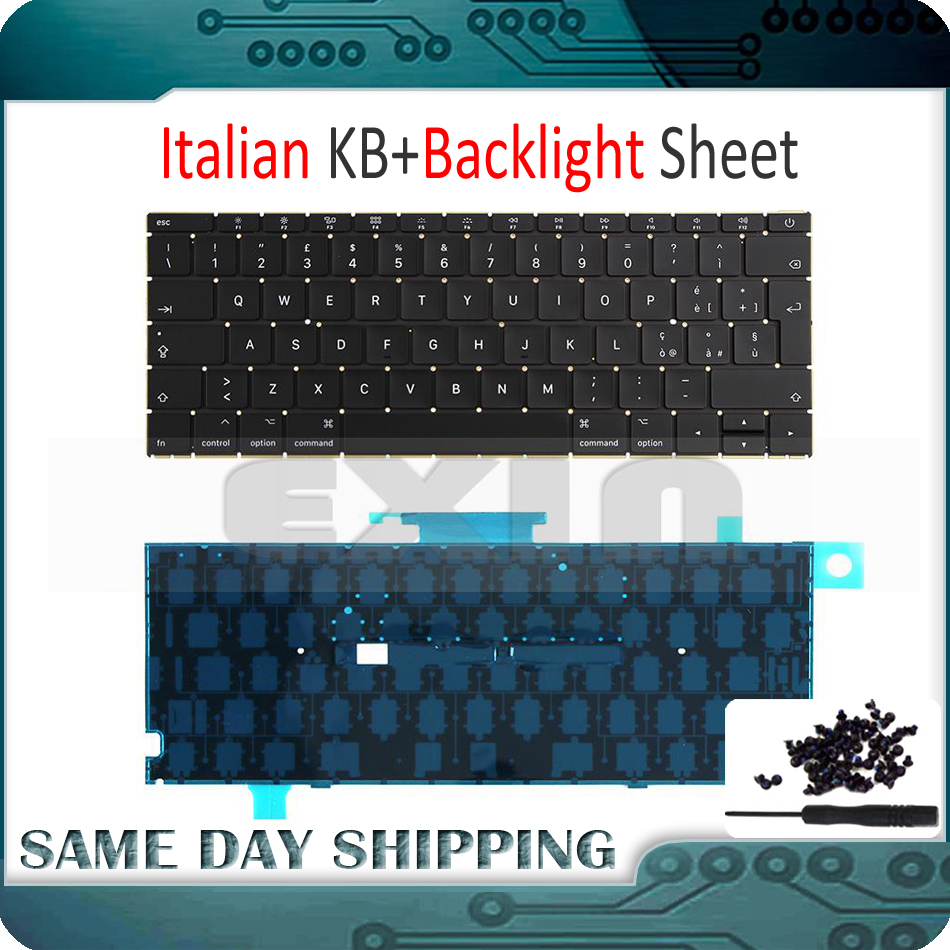 New Laptop A1534 Italian Italy Keyboard w/ Backlight Backlit +Screws for Macbook 12 A1534 Keyboard 2015 2016 2017 Year arabic french italy slovakia keyboard for asus g750 g750jx g750jw g750jh g750jm laptop keyboard backlit palmrest upper