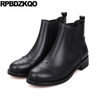 10 Flat Slip On Chelsea Winter Fur British Genuine Leather Big Size Black Shoes Brogue Booties