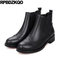 10 Flat Slip On Chelsea Winter Fur British Genuine Leather Big Size Black Shoes Brogue Booties