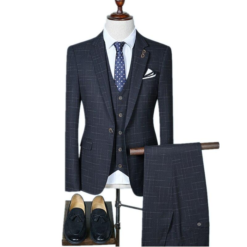 Пиджаки брюки жилет/2019 новые модные Для мужчин бутик комплекты/человека Бизнес Свадебный костюм брюки жилет