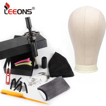 leeons Wig Making Kit Mannequin Head Canvas Block Head Wig Holder 11Pcs Wig Making Tools Dome Cap Hair Comb Brush Hair Net Pins - DISCOUNT ITEM  40% OFF All Category