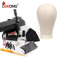 leeons Wig Making Kit Mannequin Head Canvas Block Head Wig Holder 11Pcs Wig Making Tools Dome Cap Hair Comb Brush Hair Net Pins