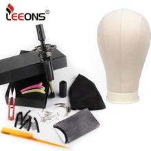leeons Wig Making Kit Mannequin Head Canvas Block Head Wig Holder 11Pcs Wig Making Tools Dome Cap Hair Comb Brush Hair Net Pins