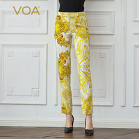 VOA тяжелый шелк карандаш брюки для девочек желтый принт Длинные штаны карандаш со средней посадкой низ Boho Pantolon Осень Дамы Большой Размеры Ле