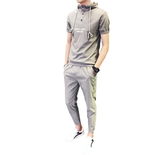 T-shirt suit mens slim short-sleeved (t-shirt + casual pants) hooded printed sports