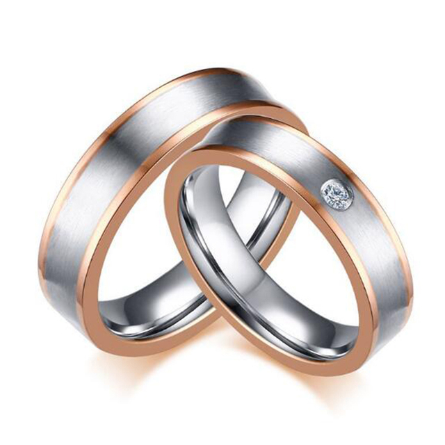 Alliance Ring For Women And Men Stainless Steel Wedding Ring Fashion Rose Gold Color Sides Female