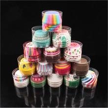 100PCS 머핀 종이 컵케잌 래퍼 베이킹 컵 케이스 머핀 상자 케이크 컵 장식 도구 주방 케이크 도구