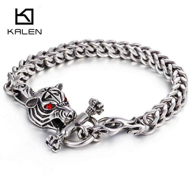 Kalen Men S Tiger Bracelet Stainless Steel Hip Hop Animal Head Charm Wrap Hand Chain Male Whole Jewelry Gift In Bracelets From