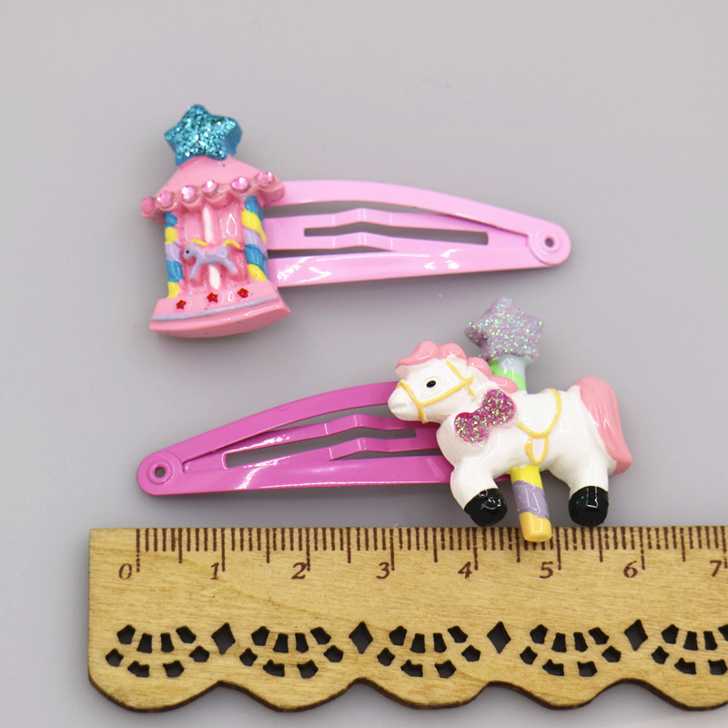 2 pcs Carousel Castle Princess Hairpins Girls Hair Accessories Children Headwear Baby BB Hair Clips Headdress 1 pcs lovely cartoon swan temperament baby hairpins kids hair clips princess barrette children headwear girls hair accessories