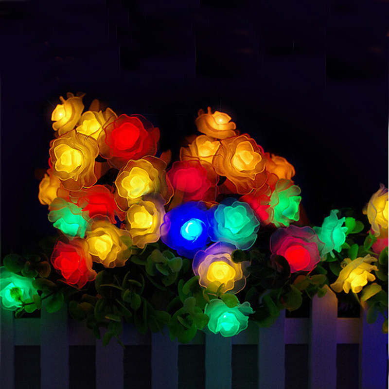 Outdoor LED Solar Powered LED Christmas String Lights, 30 LED Waterproof Rose Party Decoration Fairy Lights For Garden, Patio