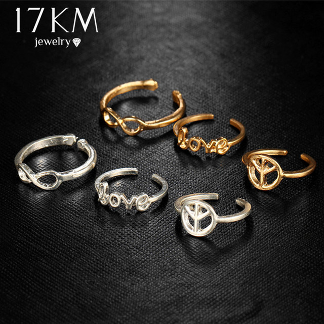 17KM Infinity Peace Love Toe Ring Sets for Women Fashion Retro Hollow Adjustable