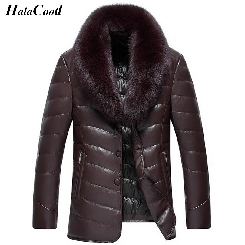 Hot Sell Winter 90% White Duck   Down   Jacket Men Leather Jacket Male   Down     Coat   Jackets Windproof Warm Faux Fur Collar Plus Size