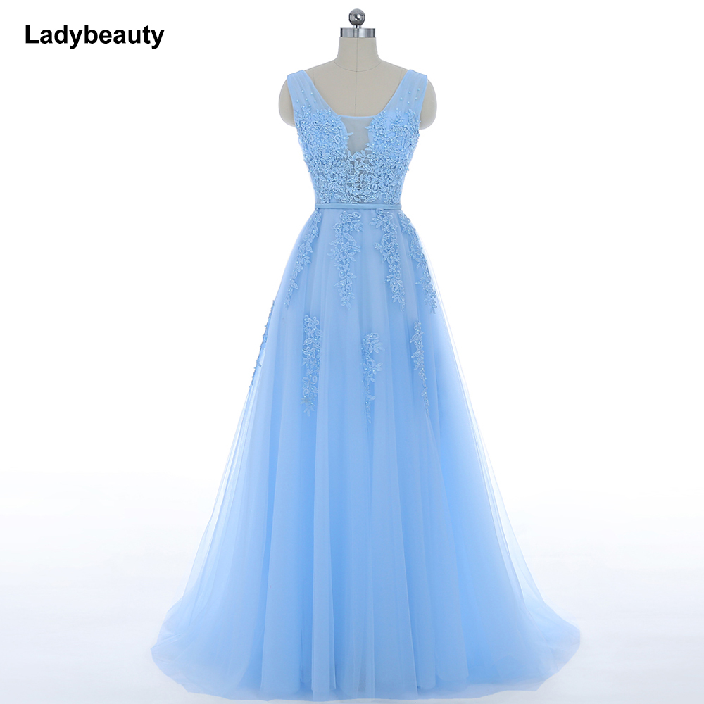 Ladybeauty New Elegant Sweet Light Blue Lace V-neck Lacing Long   Evening     Dress   The Bride Party Sexy Backless Prom   Dresses   Custom