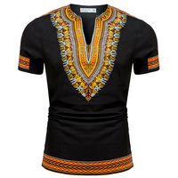 2016 Summer Autumn African Clothing For Men Dashiki Clothes Knitting Stitching Batik Printing Short Sleeve Tops