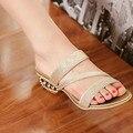 Lady Alta qualidade Bling Cut-Outs Plus Size 11 12 Rhinstones Saltos Cunhas Sandálias Mulheres Bombas de Verão sapatos de Praia sapatos de Slides