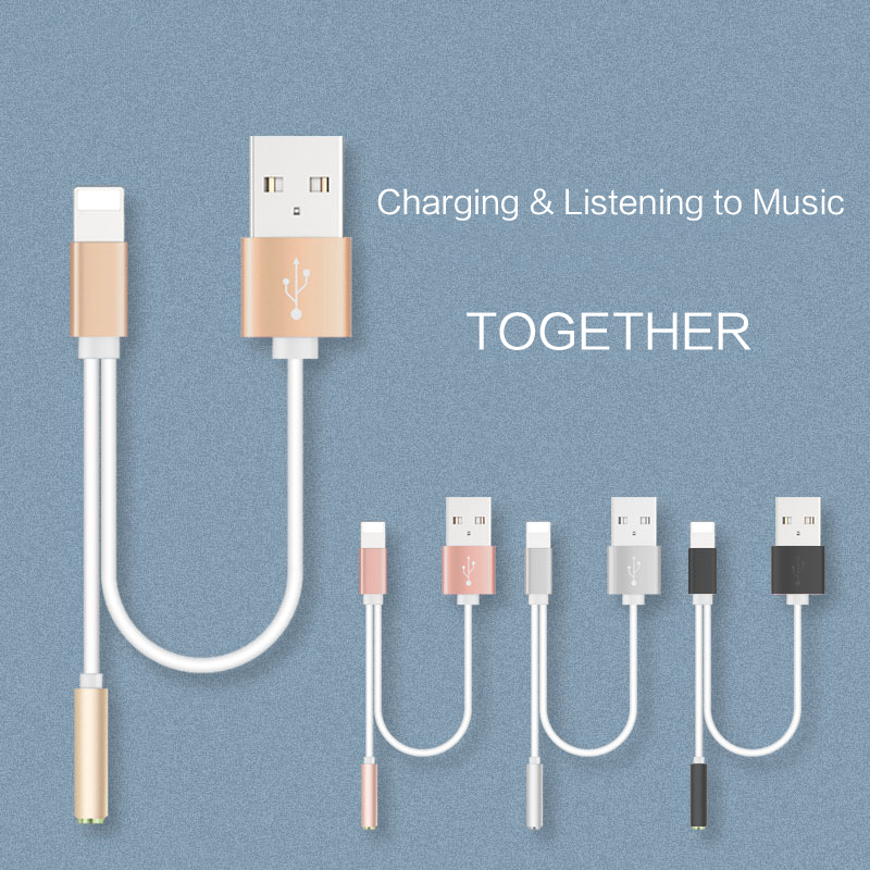 finest selection 5f881 d1118 US $0.99 |2 in 1 adapter Charger Cable 3.5mm Earphone Headphone Jack  Adapter Connector Aux Lightning Cable for iPhone 7 Plus For 10.21-in Mobile  Phone ...