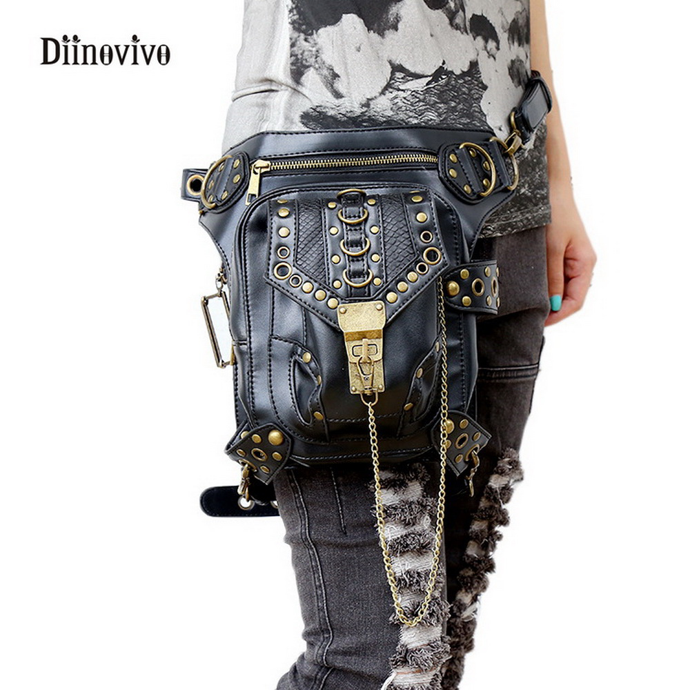DIINOVIVO Vintage Women Luxury Leather Shoulder Bag Exclusive Retro Rock Gothic Bag Packs Steampunk Leg Bag Waist Bag WHDV0065