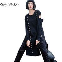 Punk Solid Black Ribbons Spliced Tops Long Sleeve 2017 Women Casual Street Cool T Shirt O